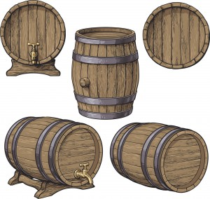 Collection of wine, rum, beer classical wooden barrels
