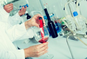 Wine being checked on component saturation in laboratory on winery factory
