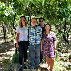 Christina, Sebastian, Patrick, Manuella in vineyard